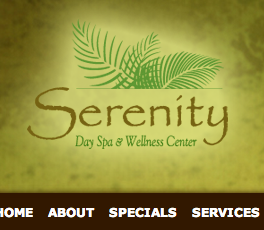 Serenity Day Spa website graphic